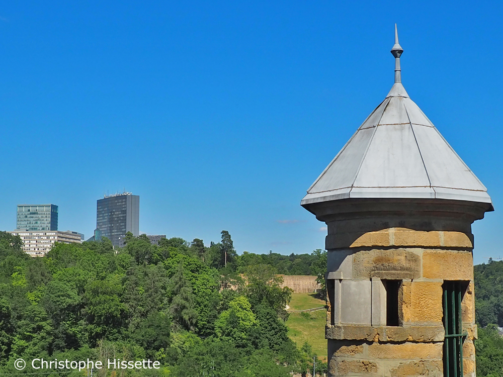 Spanish Turret with view on the Kirchberg Plateau, Luxembourg City