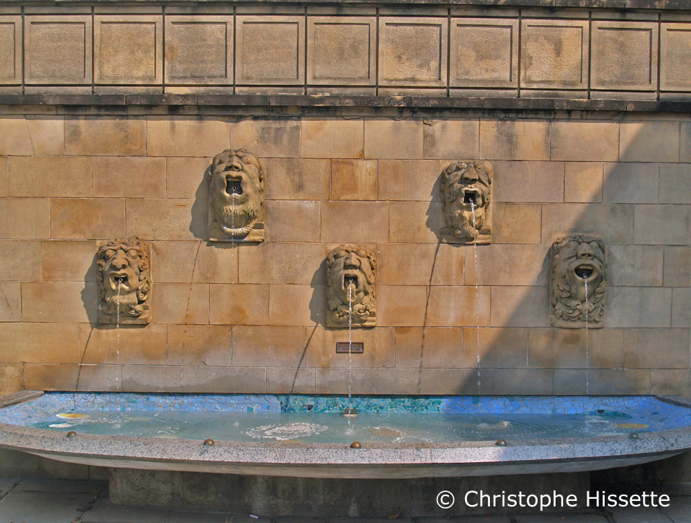 Lions Fountain, forecourt of Notre-Dame Cathedral, Luxembourg City