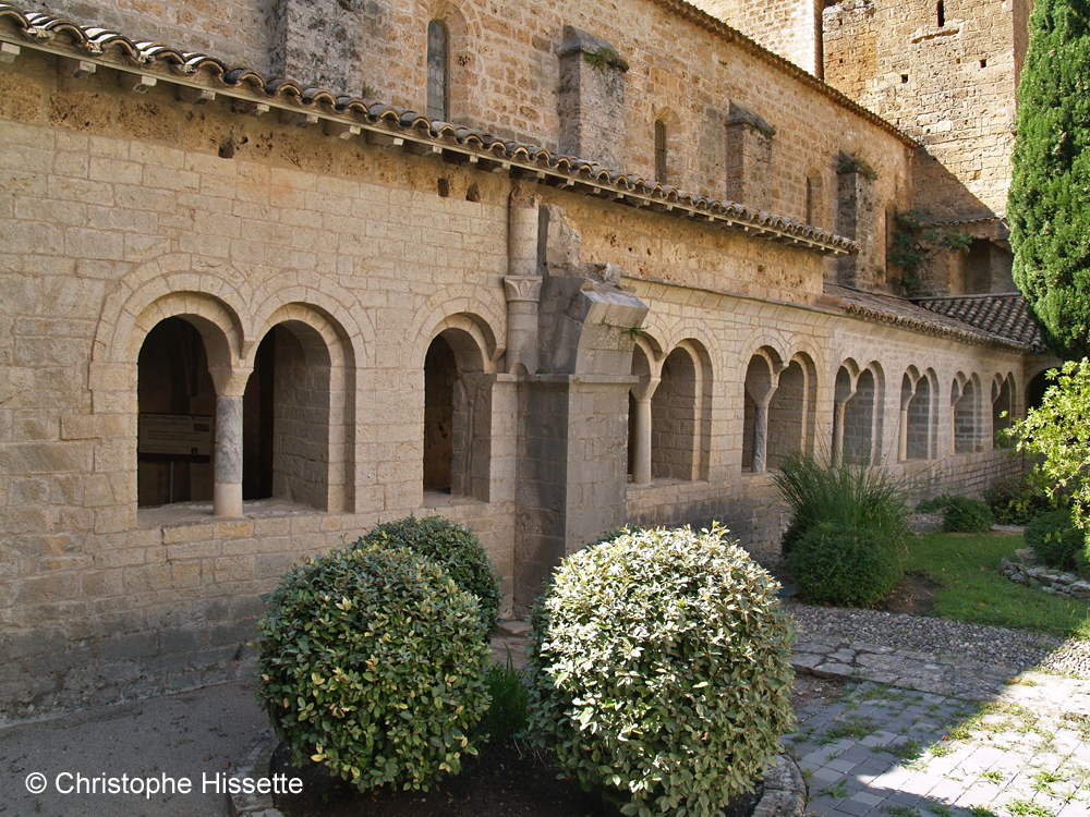 Cloister courtyard of the Abbey of Gellone (UNESCO World Heritage - Camino de Santiago), Saint-Guilhem-le-Désert, France