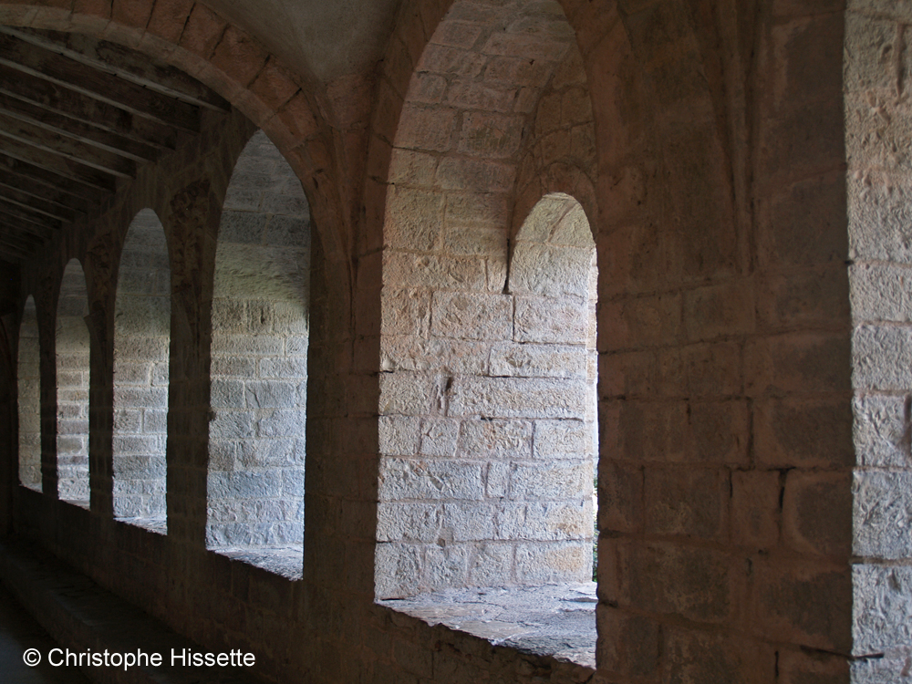 Cloister windows of the Abbey of Gellone (UNESCO World Heritage - Camino de Santiago), Saint-Guilhem-le-Désert, France
