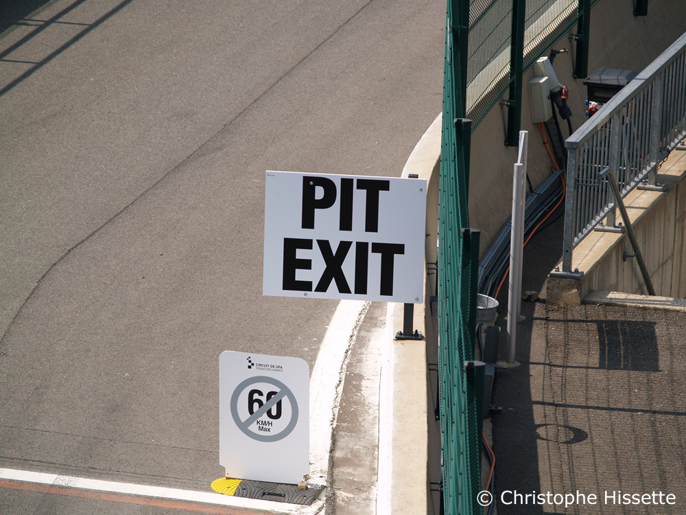 Pit exit of the Spa-Francorchamps Circuit (Belgium)