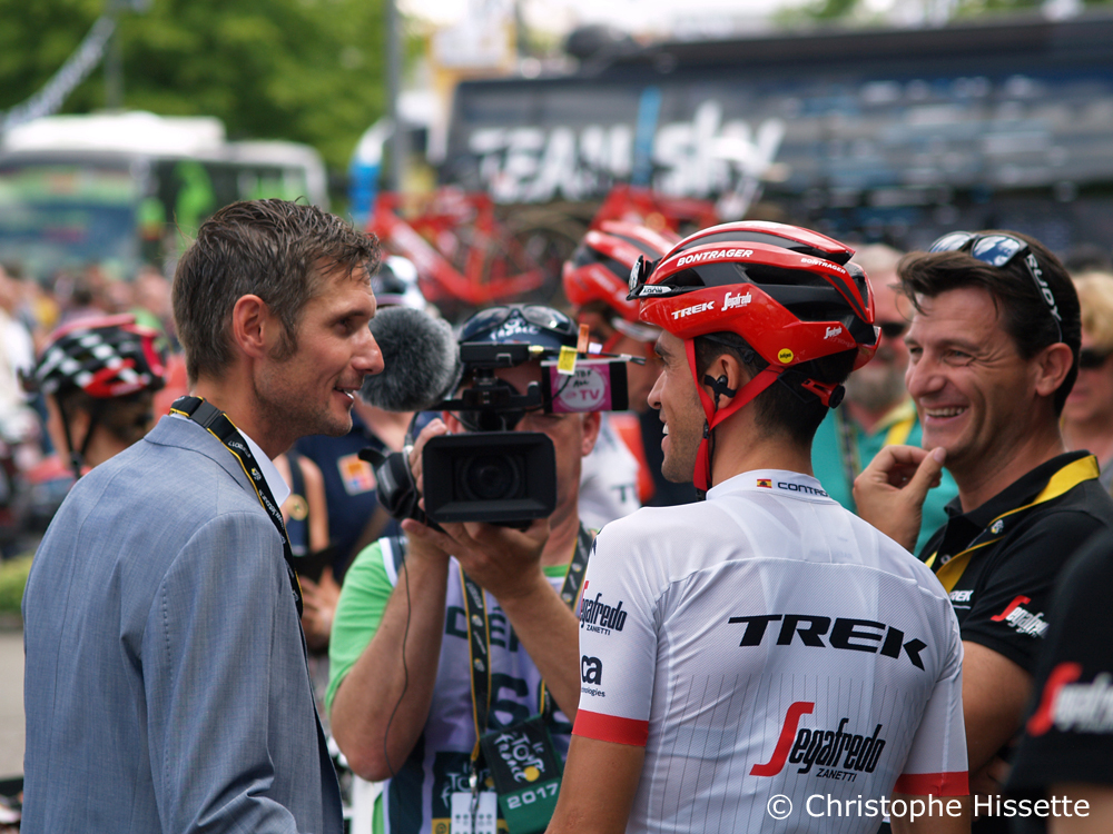 Alberto Contador with Fränk Schleck - Stage Departure of the Tour de France 2017 in Mondorf-les-Bains (Luxembourg)