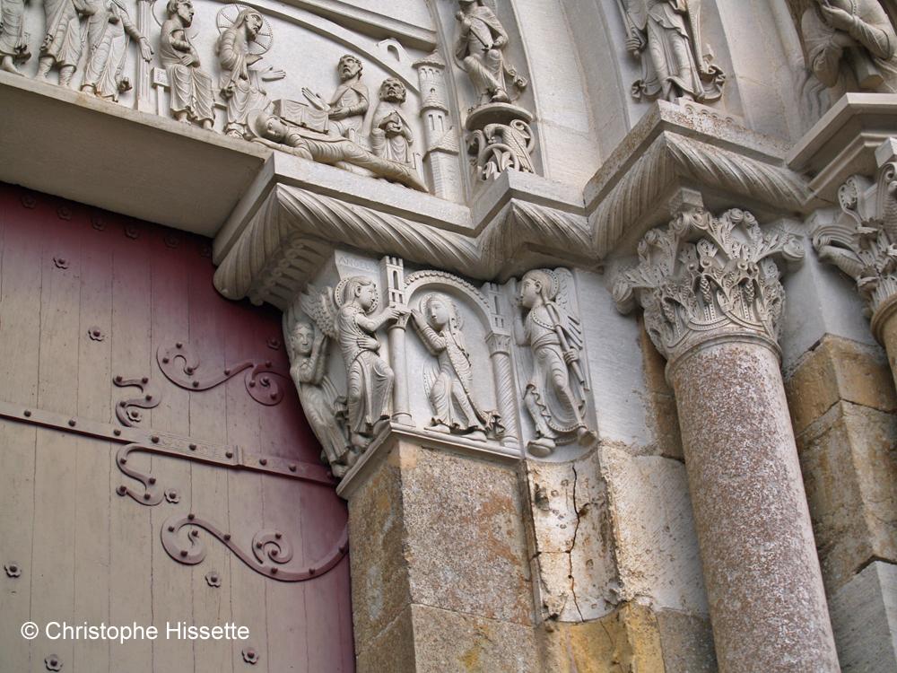 Détail de la façade occidentale de la Basilique Sainte-Marie-Madeleine de Vézelay  (Patrimoine Mondial de l'Unesco - Chemins de Compostelle)